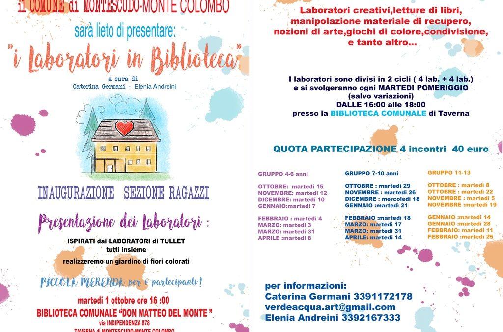 """1 ottobre 2019 ore 16,00: con i """"Laboratori in Biblioteca"""" si inaugura la sezione ragazzi della Biblioteca Don Matteo del Monte"""