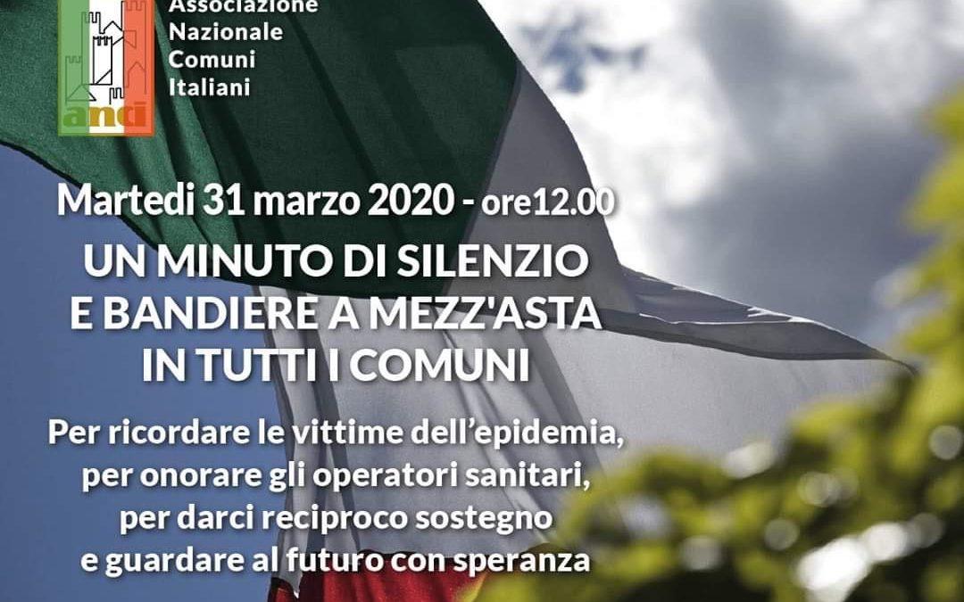 Martedì 31 Marzo 2020 ore 12,00: un minuto di silenzio e bandiere a mezz'asta per le vittime di Covid-19