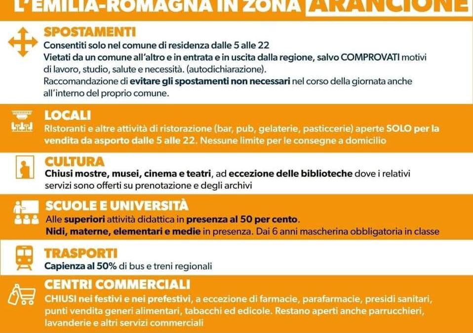 Da domenica 21/02/2021 l'Emilia Romagna torna Arancione: le relative disposizioni da osservare