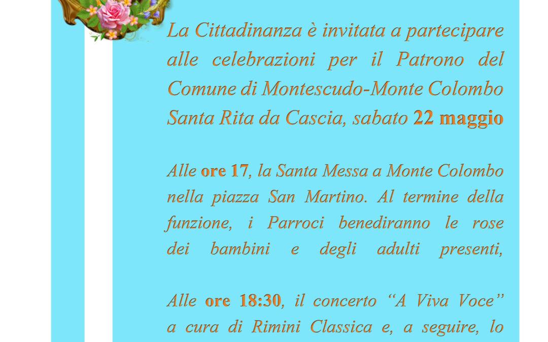 Sabato 22 maggio: celebrazioni per la Patrona del Comune di Montescudo – Monte Colombo, Santa Rita da Cascia